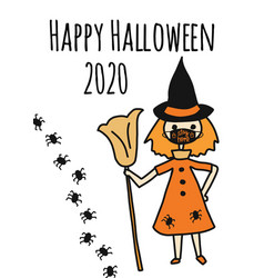 happy halloween 2020 greeting card template witch vector image