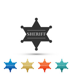 hexagonal sheriff star icon on white background vector image