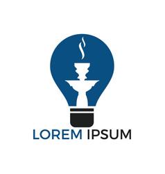 Hookah and light bulb logo design vector