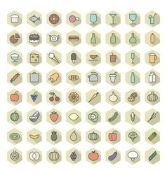 Icons line hexagonal food drinks thin vector