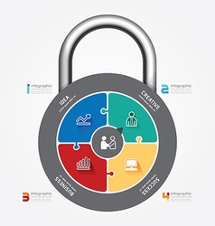 infographic Template with lock jigsaw vector image