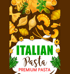 Italian pasta in restaurant and cafe menu vector
