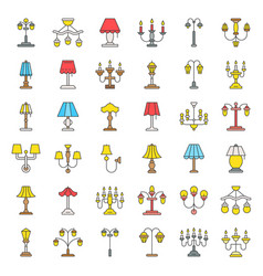 Lantern or lamp icon set filled style vector