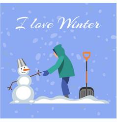 lettering i love winter blue background cold vector image