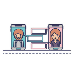 man and woman social network chat in smartphone in vector image
