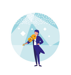 man playing the violin isolated icon vector image