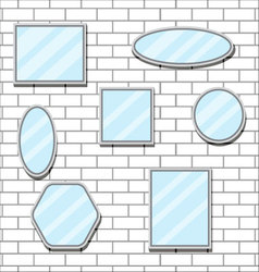 Mirror set design form on brick wall vector image