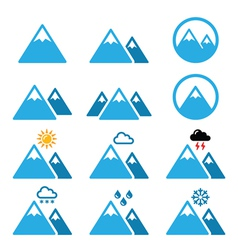 Mountain winter icons set vector