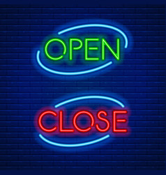 neon signs open and close vector image