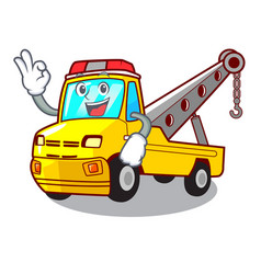 okay truck tow the vehicle with mascot vector image