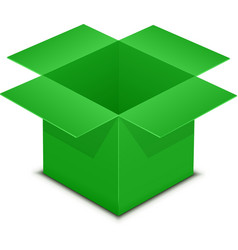 Open green box on white vector image
