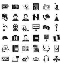 Operator icons set simple style vector