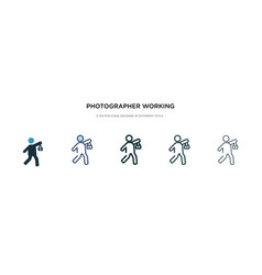 photographer working icon in different style two vector image