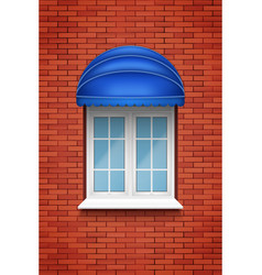 Pvc arch window with awning vector