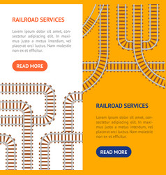 Railroad banner vertical set vector