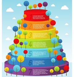 Rainbow pyramid with trees vector image
