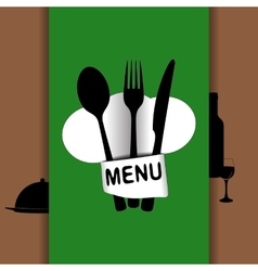 restaurant menu with chef hat chef green vector image