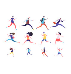 running people flat man and woman business vector image