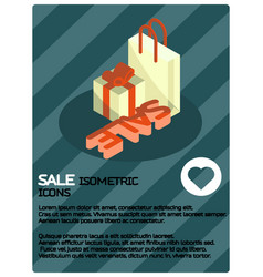 sale color isometric poster vector image