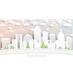San diego california city skyline in paper cut vector