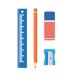 School stationery wooden pencil sharpener ruler vector
