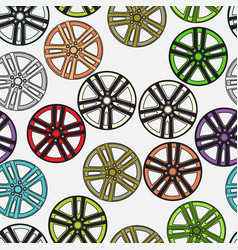 Seamless background with car alloy wheels vector