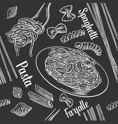 Seamless pattern set pasta with title vector