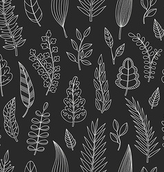 Seamless pattern with chalk leaves vector image