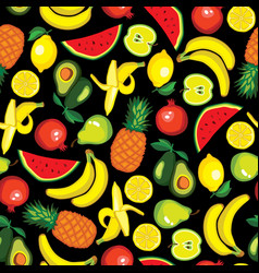seamless pattern with fruits avocado watermelon vector image