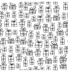 Seamless texture with hand drawn gift boxes with vector image