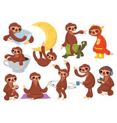 set cartoon sloths collection cute sloths vector image