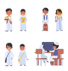 Set muslim or arabian children at school flat vector