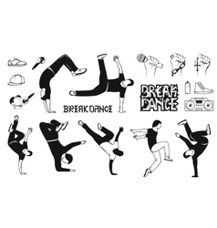 Set of Breakdance Man Silhouettes vector