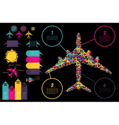 Set of elements for aviation ingographics vector