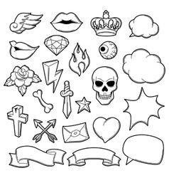 set retro tattoo symbols cartoon old school vector image