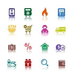 set shopping colour icons vector image