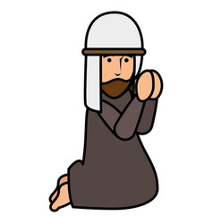Shepherd of bethlehem praying character vector