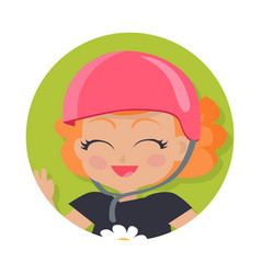 smiling girl in pink helmet simple cartoon style vector image