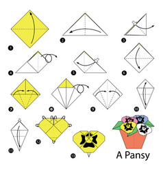 Step instructions how to make origami a pansy vector