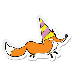 Sticker of a cartoon sly fox in party hat vector