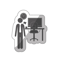 sticker silhouette man administrator in office vector image