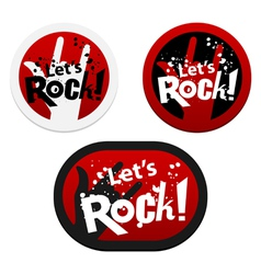 Stickers with Lets Rock vector image