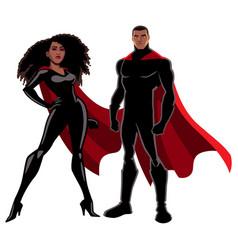 superhero couple black on white vector image