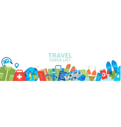 travel check list templae horizontal banner with vector image