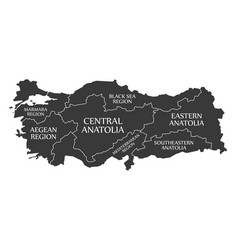 Turkey map labelled black in english language vector