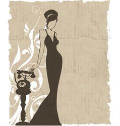 Vintage retro woman silhouette background vector