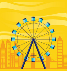 wheel panoramic with cityscape scene vector image