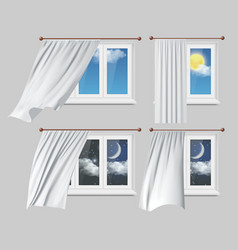 windows with white curtains vector image
