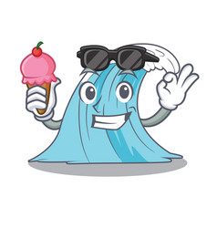 With ice cream waves of water graphic character vector