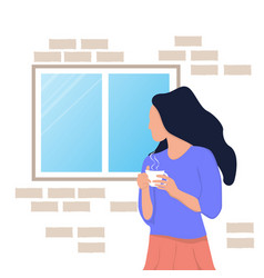 Woman look out windows self-isolation during vector